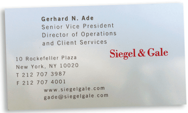 Jeff Bezos lunch - Siegel & Gale business card