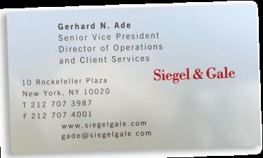 Jeff Bezos lunch - Siegel & Gale business card