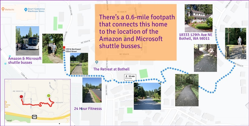 Bothell Home near Woodinville | Footpath from home to Amazon and Microsoft shuttle busses