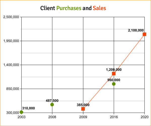 One client's purchases and sales from 2002 to 2020