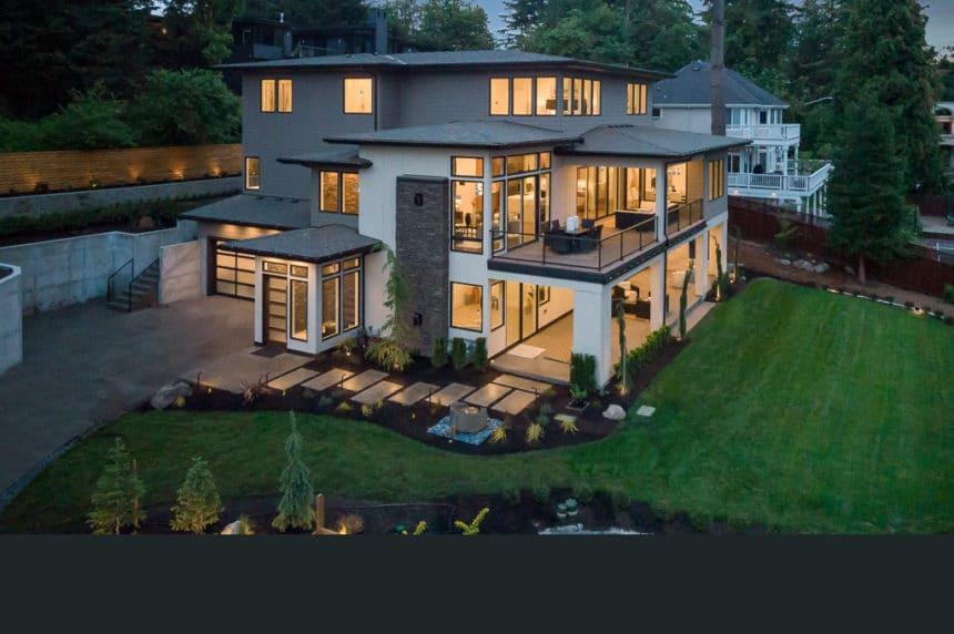 Bellevue luxury home at dusk